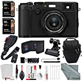 Fujifilm X100F Digital Camera (Black) + Quick Release Shoulder Strap, Total of 64GB, Clip Clamp + Xpix Deluxe Cleaning Accessories