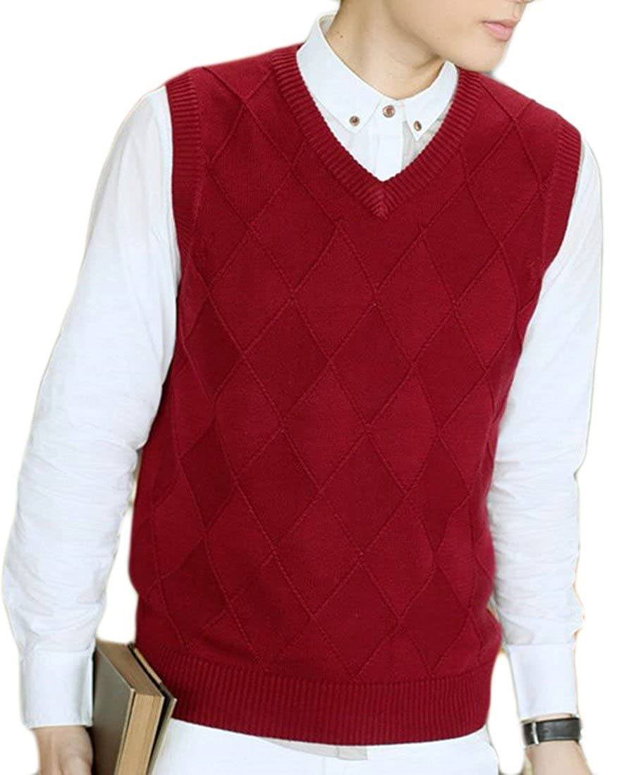 Fulok Men's Basic Plain Knitwear Sleeveless V-neck Sweater Vest