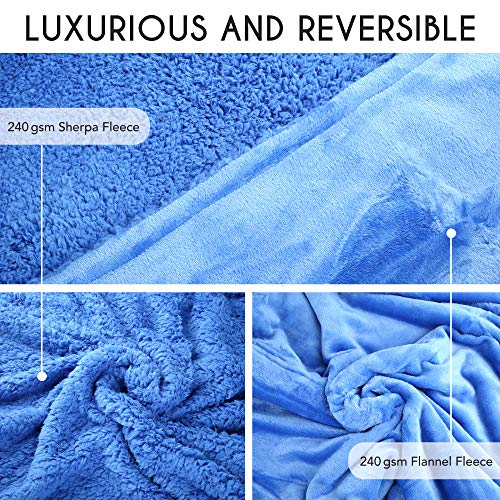 "LotFancy Sherpa Fleece Throw Blanket, Twin Size, Cozy Fuzzy Velvet Throw for Couch Bed Sofa Dorm Home, Warm Plush Flannel Microfiber Blanket, Lightweight Blue, 60""x80"""