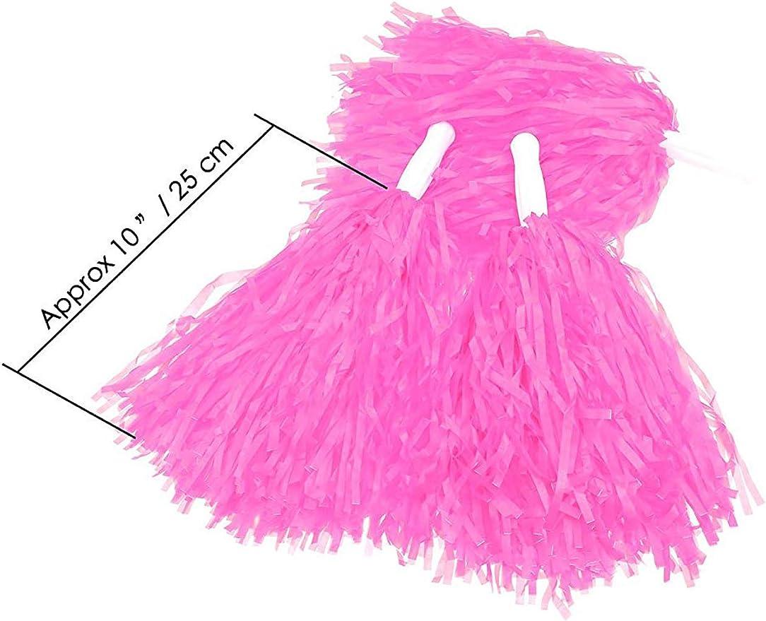 Sports Pom Poms 6 Pcs Cheer Leading Poms Party Costume Fancy Dress Dance Sport