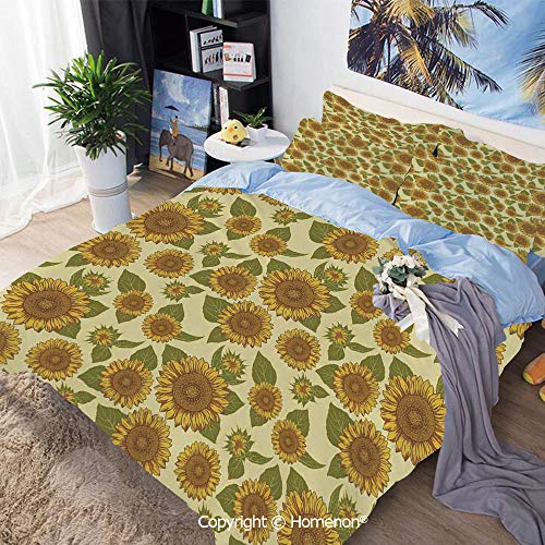 Dinette Set Pastel - Bedding Sheets Set 3-Piece Bed Set,Funky Style Sunflower in Pastel Colors Old Fashioned Nostalgic Vintage Art Print,King Size,Include 1 Quilt Cover+2 Pillow case,Green Yellow