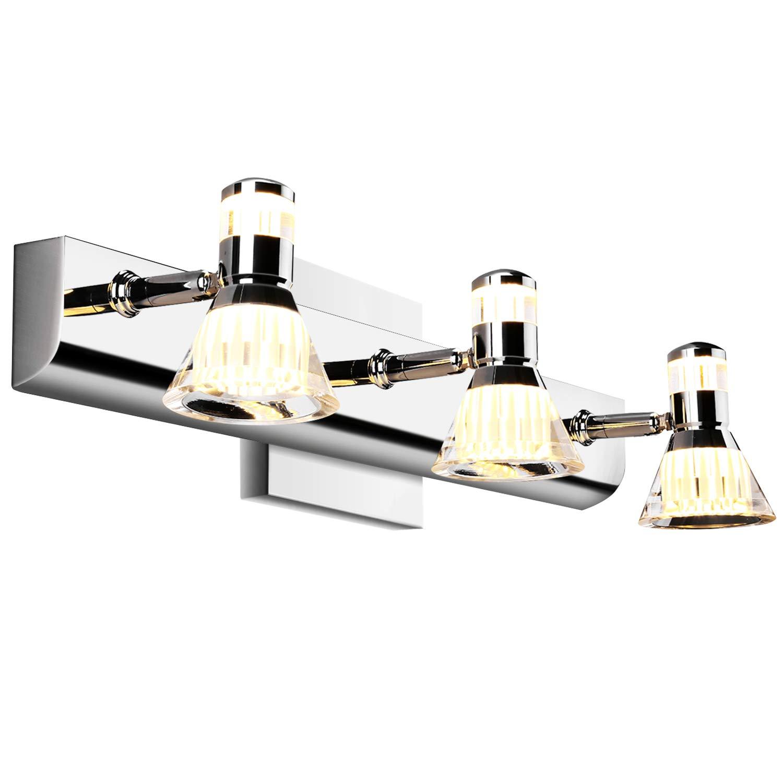 20W 3-Light 18in Modern LED Over Mirror Lighting Stainless Steel Warm White 3000K Bath Wall Sconce HN0146 Lightess Bathroom Vanity Lights