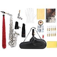 Filfeel Saxofón, Profesional Hermoso y práctico Saxofón Alto de Saxo EB con Guantes de Grasa de Corcho Correa Instrumentos Piezas(Plata)