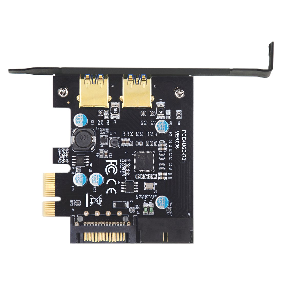 Mailiya PCI-E to USB 3.0 2-Port PCI Express Card,Mini PCI-E USB 3.0 Hub Controller Adapter 15-Pin Power Connector 1 USB 3.0 20-Pin Connector - Expand Another Two USB 3.0 Ports by Mailiya (Image #2)