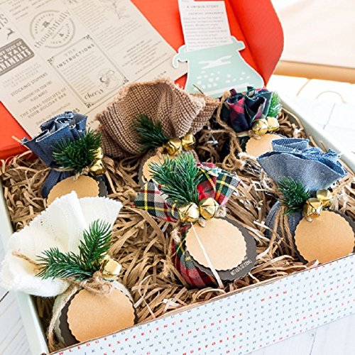 Holiday Ornament Cocktail Mixes & Table Setting 6 pc. Box Gift Set Christmas Drink Mix Ornaments for Holiday Party Decorations or Individual Gifts with A Variety of Margarita and Martini Flavors