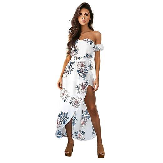 de758a422fd975 Kleider Damen Dasongff Frauen Kleider Vintage Boho Lange Maxikleid  Trägerlos Kurzarm Abendkleid Partykleid Strandkleid Floral Sommerkleid