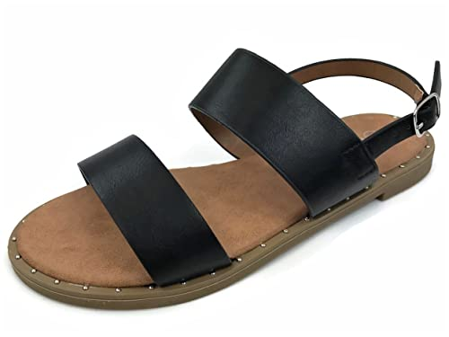 ea5b31080b5e Womens Double Strap Sandal with Ankle Wrap Slingback Strap