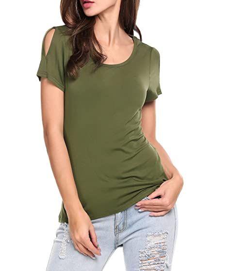 465be13e1d527 LuckyMore Women s Cold Open Shoulder Open Back Short Sleeve Tops Tunic  Shirts at Amazon Women s Clothing store