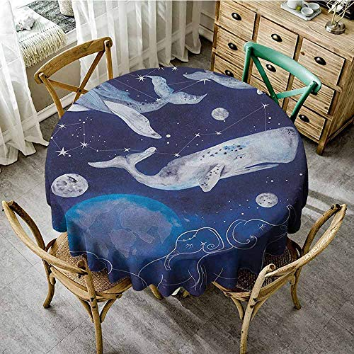 ScottDecor Christmas Tablecloth Zodiac Mystical Space Image with Whales Legend of Universe Theme Planetary Angles Print Blue Grey Summer Round Tablecloth Diameter 60