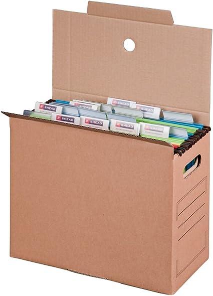 Smartbox Pro - Caja de transporte de archivos (base automática para carpetas colgantes, 10 unidades), color marrón: Amazon.es: Oficina y papelería