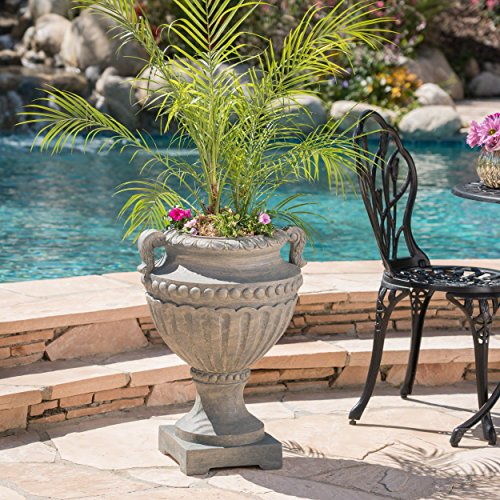 Great Deal Furniture Alice Outdoor Antique Grey Finish Light Weight Concrete Urn Review
