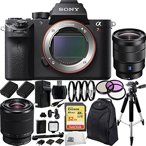 Sony Alpha a7R Mark II a7R II a7RII ILCE7RM2B Mirrorless Camera w FE 28-70mm f3.5-5.6 OSS Lens & Sony Vario-Tessar T FE 16-35mm f4 ZA OSS Lens 32GB 17PC Bundle. Includes SanDisk 32GB Extreme SDHC Class 10 Memory Card (SDSDXN-032G-G46)  High Speed...