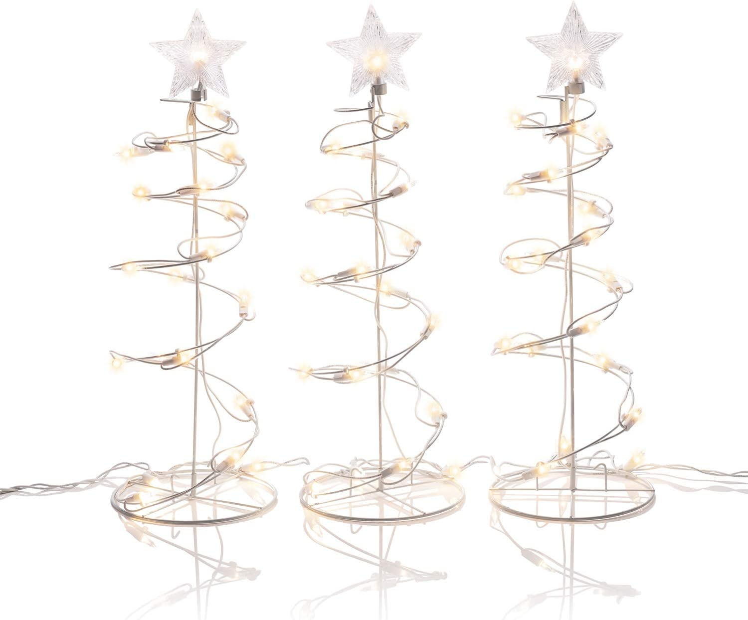 Alpine Corporation EUT142-3 Spiral Christmas Tree Decor with LED Lights Indoor or Outdoor Festive Holiday Décor, Set of 3, 19-Inch Tall, Brown