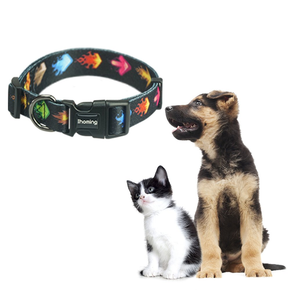 Ihoming Pet 8 Patterns and 4 Sizes Collars Soft and Durable Adjustable Pet Necklace Fit for Small Medium Large Dogs and Cats