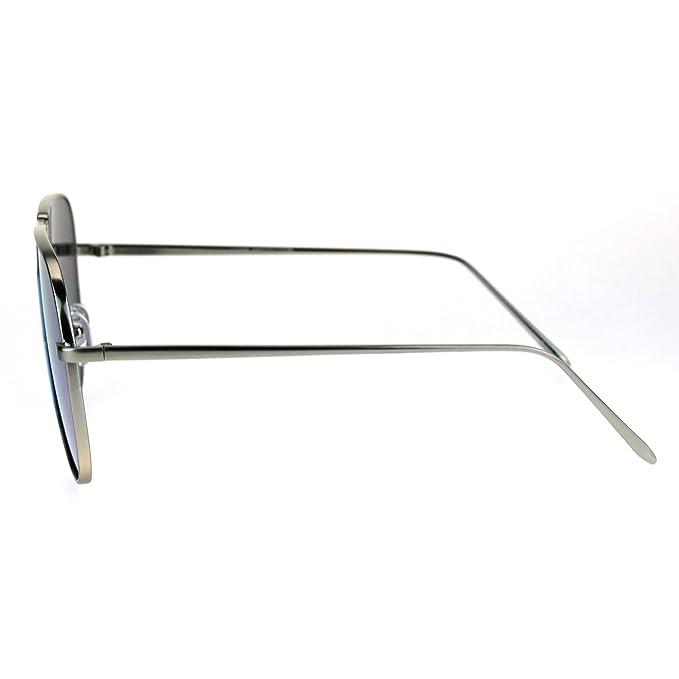 a3bcbbe8e79dd Amazon.com  Metal Frame Oversize Reflective Color Mirror Lens Futuristic  Aviator Sunglasses Black Red  Clothing