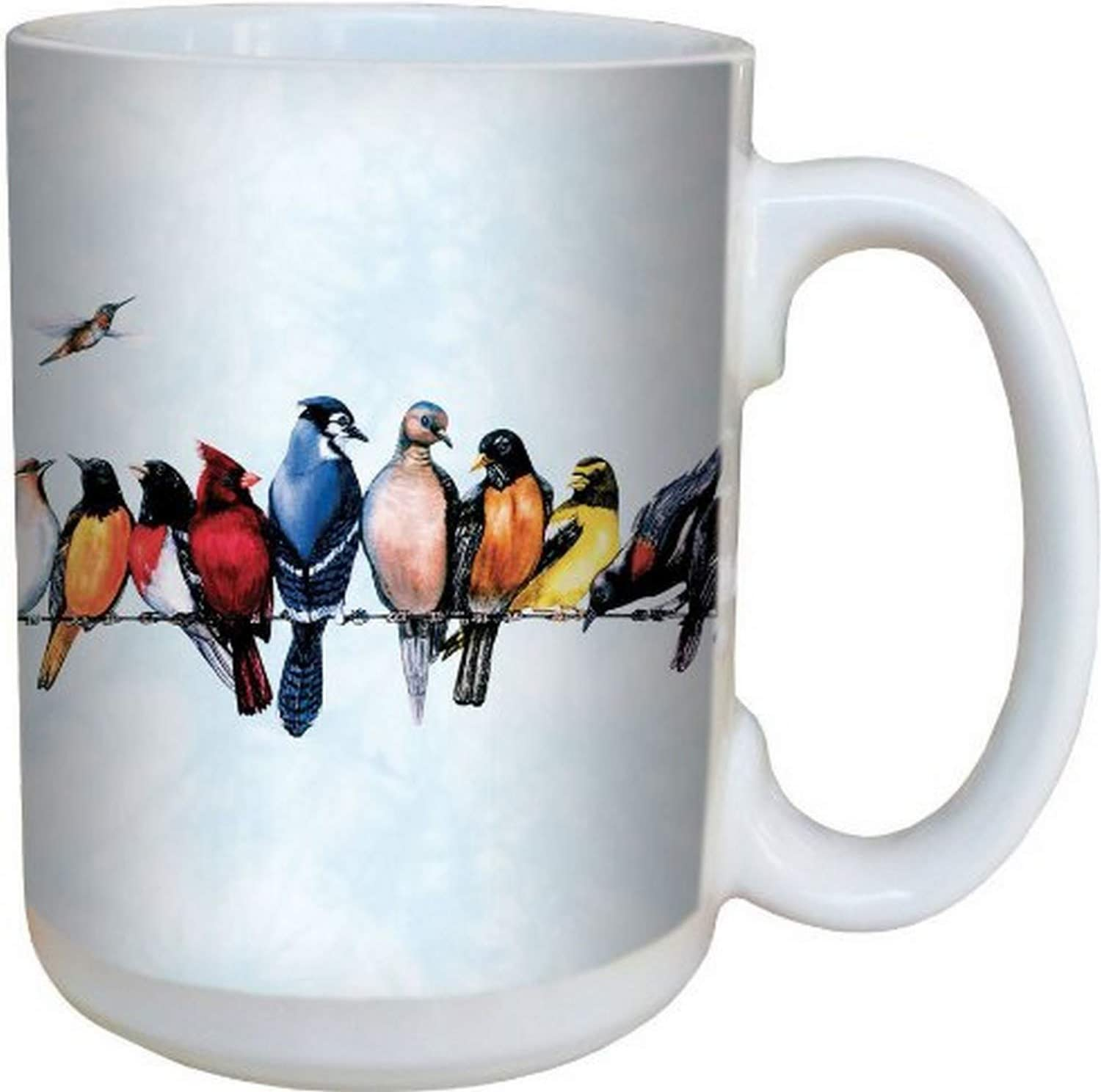 Chorus Line Bird Coffee Mug - Large 15-Ounce Ceramic Cup, Full-Size Handle - Gift for Nature and Garden Lovers - Tree-Free Greetings