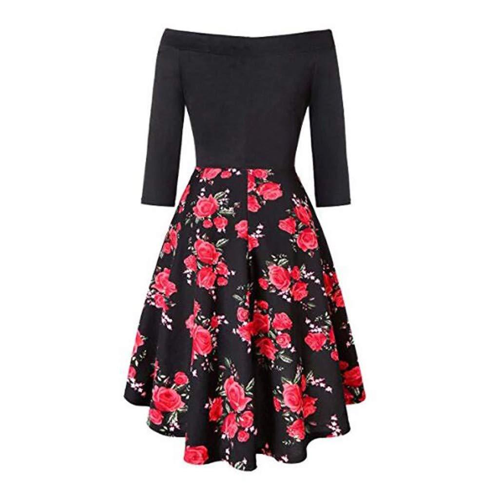 Keliay Bargain Women Fashion Slash Neck Long Sleeve Flower Print Short Dress Knee-Length Dress Red by Keliay