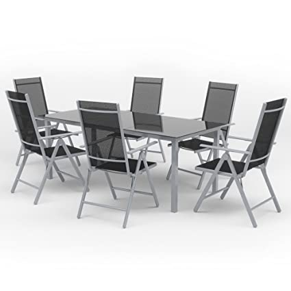Oskar Alu Sitzgarnitur Gartenmobel Set 7 Teilig Garnitur Sitzgruppe 1 Tisch 190x87 6 Stuhle