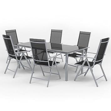 Oskar Alu Sitzgarnitur Gartenmöbel Set 7 Teilig Garnitur Sitzgruppe 1 Tisch 190x87 6 Stühle