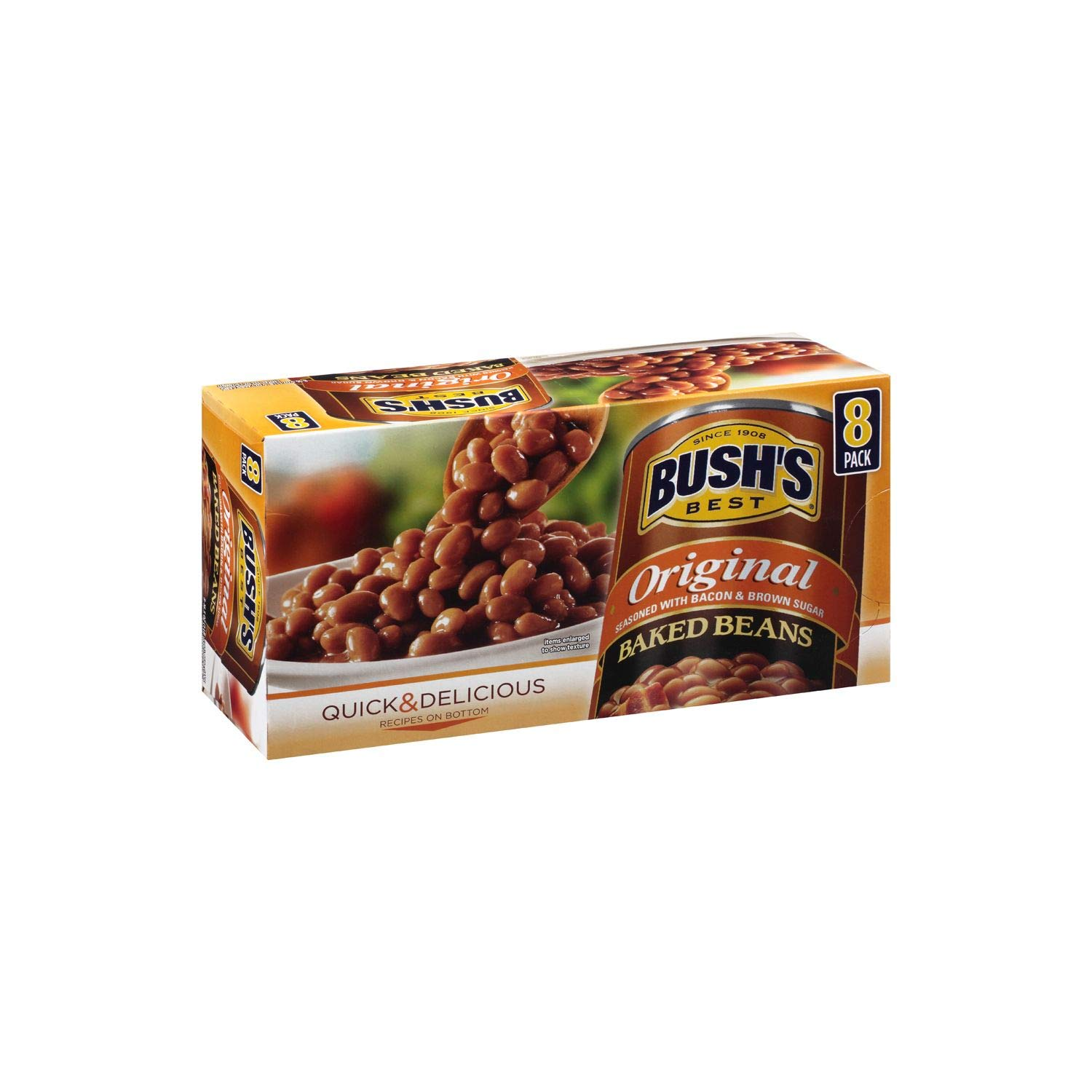 Bush Best Since 1908 Original Baked Beans Seasoned with Bacon & Brown Sugar 8 Pack of 16.5oz Each Sms10