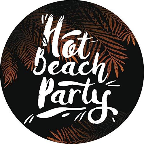 (Shinobi Stickers Hot Beach Party Calligraphy Black Palm Leaves Icon Vinyl Sticker (2