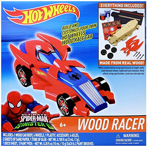 Paint Man Spider (Tara Toy Hot Wheels Wood Racer Spiderman Vehicle, One Size)