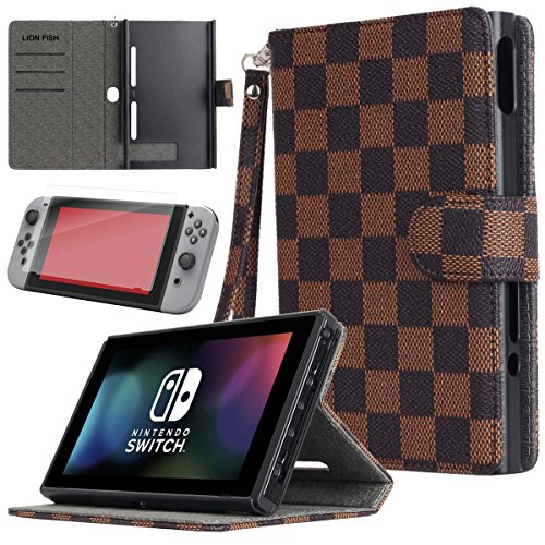 LION FISH Nintendo Switch Case with Tempered Glass Screen Protector,Nintendo Switch Case with Stand,Premium PU Leather Wallet Flip Case Travel Cover with Card Holder for Nintendo Switch 2017. (Brown)