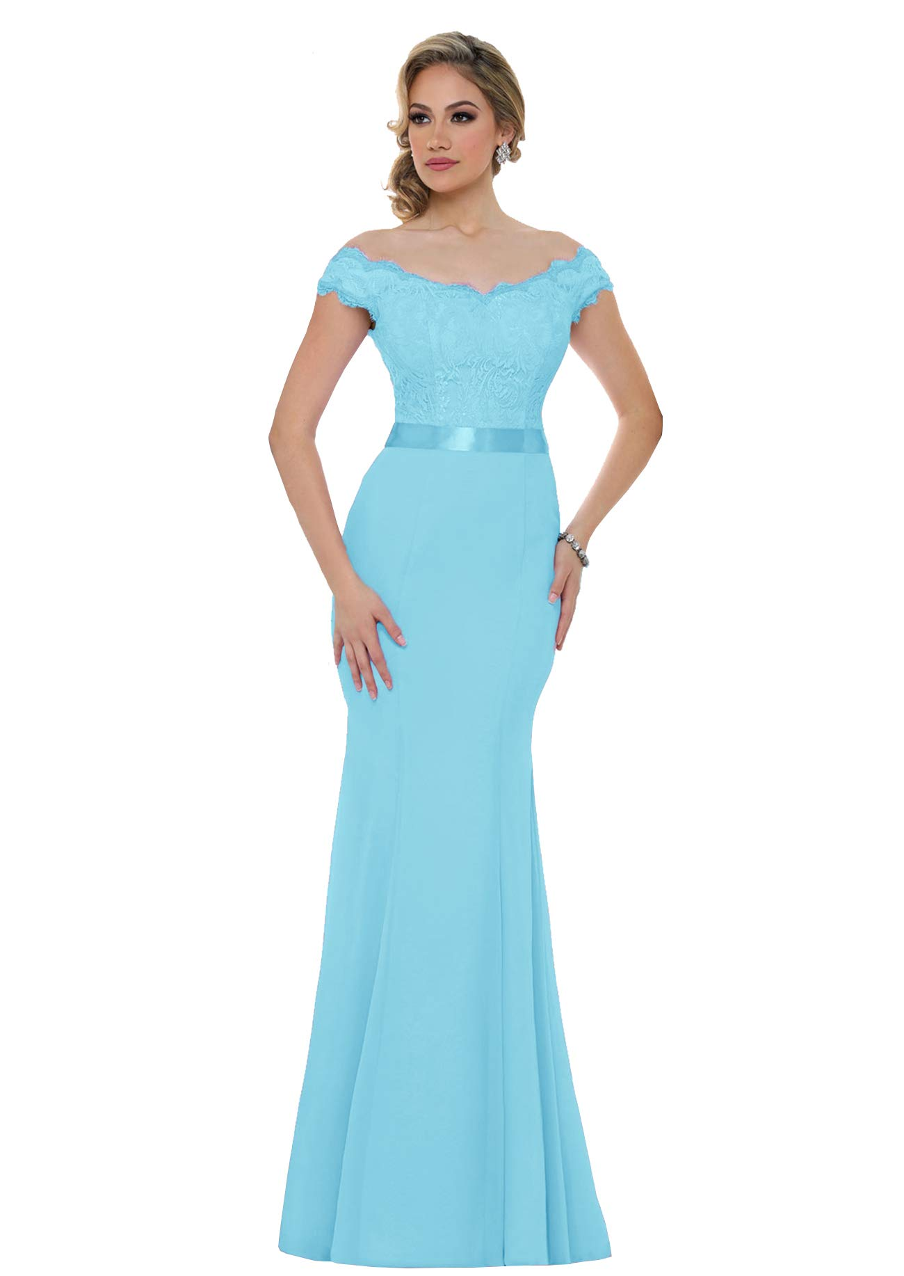 Mermaid Bridesmaid Dresses For Women Lace Wedding Evening Formal Gowns Long Party S015 2 Ice Blue