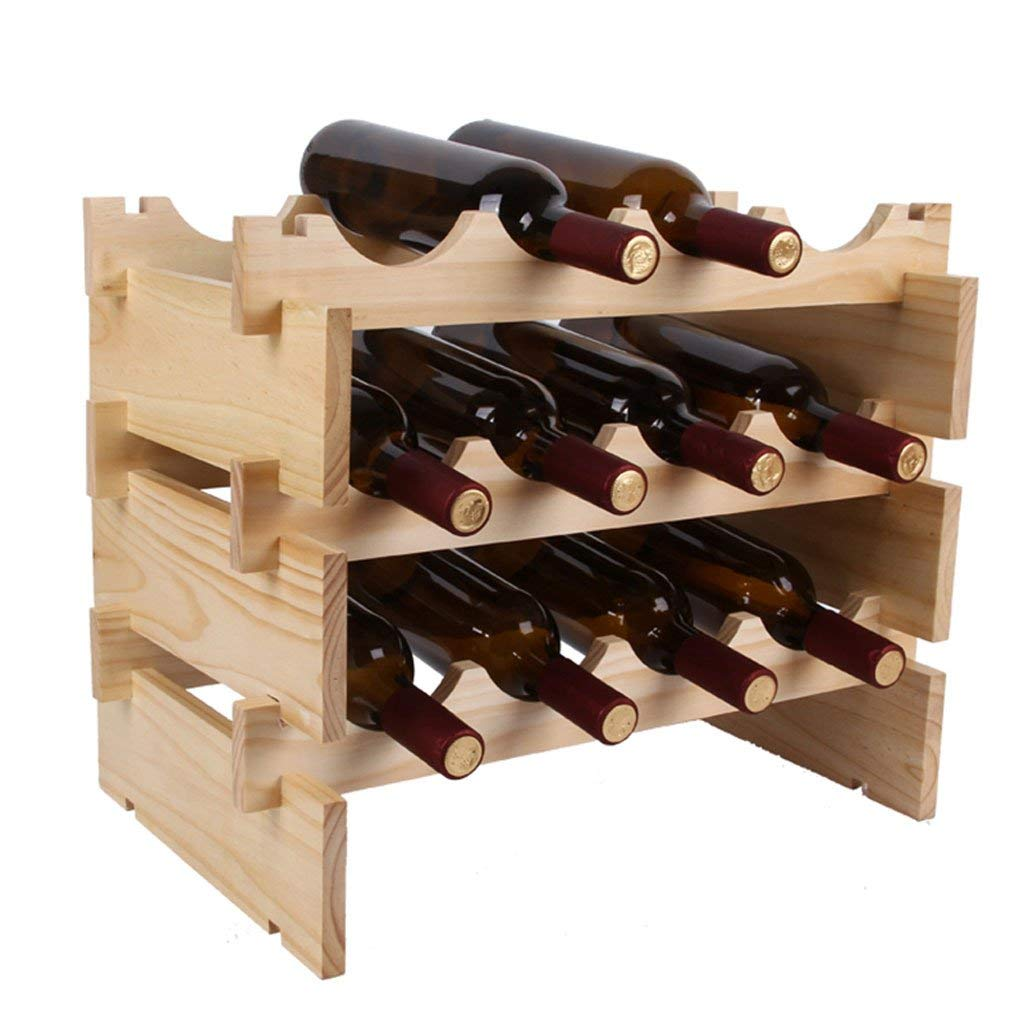 C Red Wine Shelf Primary color European Wooden Wine Rack, Living Room Kitchen Household Simple Solid Wood Superimposed Wine Rack Decoration 50X32X28cm (Size   B) (Size   C)