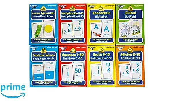 Amazon.com: School Zone Spanish English Bilingual Flash Cards 8-Pack (Addition, Subtraction 0-10, Multiplication 0-20, Go Fish, Alphabet, Numbers 1-50, ...