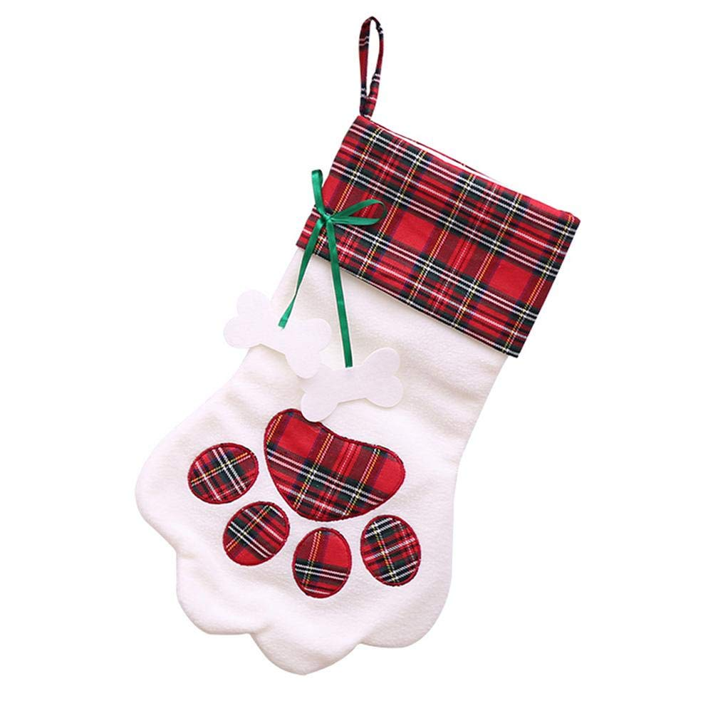 WinnerEco Candy Bag Christmas Stocking Dog Paw Socks Candy Bag Gift Pouch Xmas Tree Decor (Red)