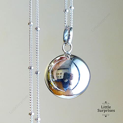Amazon 16mm relaxation calming chime sound angel caller 16mm relaxation calming chime sound angel caller sterling silver harmony ball 30quot necklace ls71 aloadofball Images