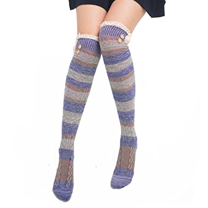 076bd10f8af93 Image Unavailable. Image not available for. Color: Challyhope Women Winter  Warm Cable Long Boot Socks Fashion Rainbow Stripe Over Knee Thigh High  Stockings