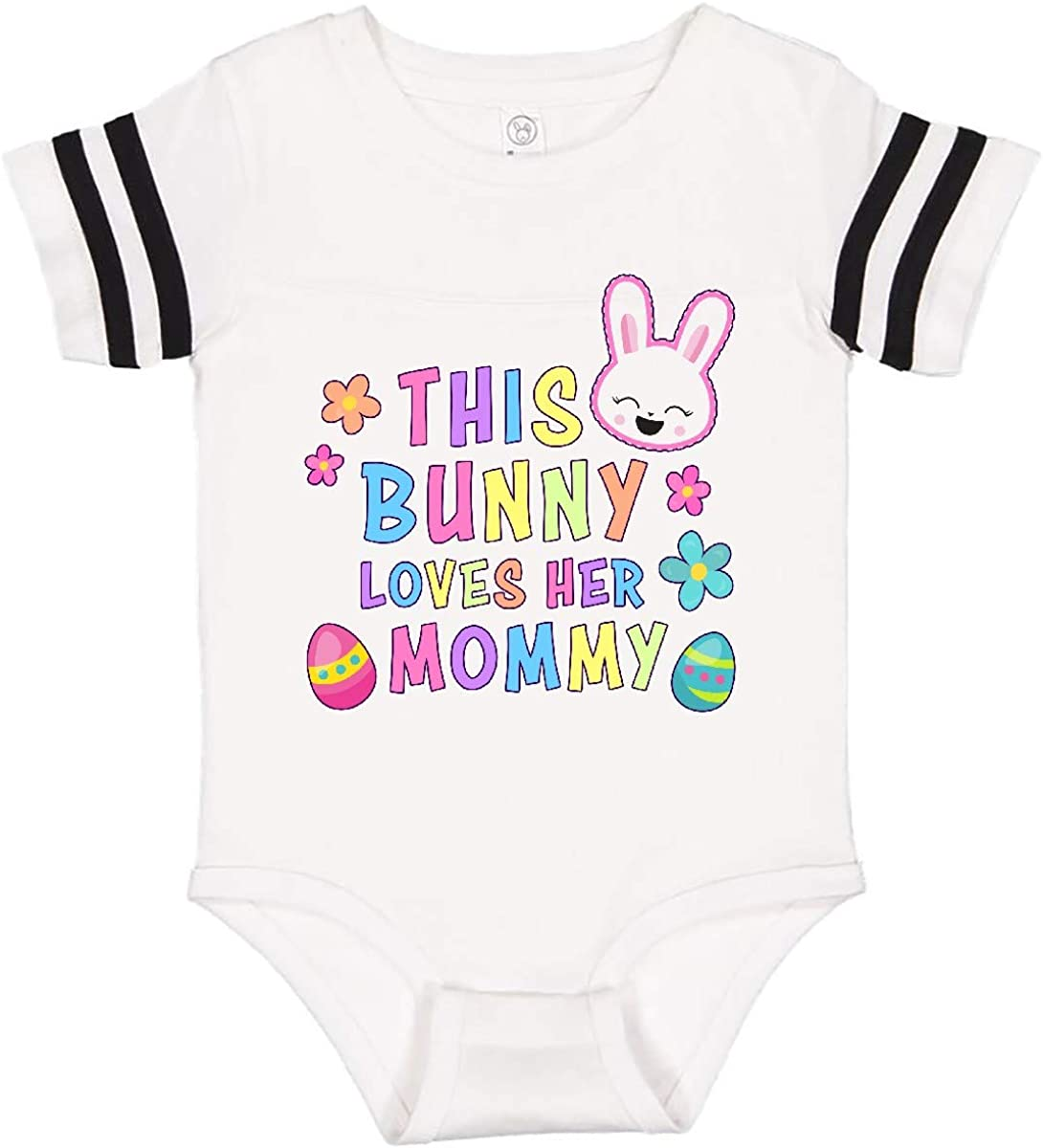 inktastic This Bunny Loves Her Mommy with Bunny Face and Flowers Infant Creeper