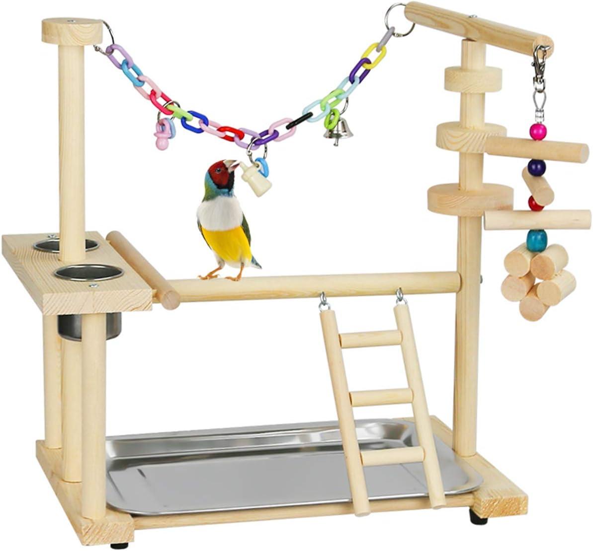 Fittoway Parque de juegos para pájaros, loros, parque de juegos, de madera natural, juguete para ejercicios para cacatúas Electus (con tazas de comida y bandeja)