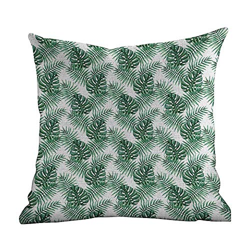 Matt Flowe Pillow case Covers with Zipper,Leaf,Palm Mango Banana Tree Leaves in Tropical Wild Safari Island Jungle Image Artwork,Forest Green,for Home Decor16 x16