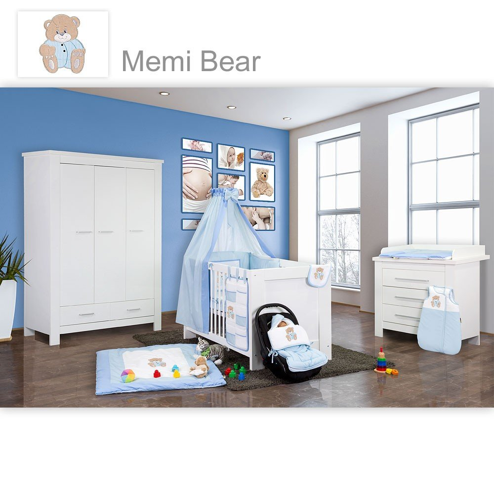 Babyzimmer Enni in weiss 10 tlg. mit 3 türigem Kl. + Textilien von Memi in Blau