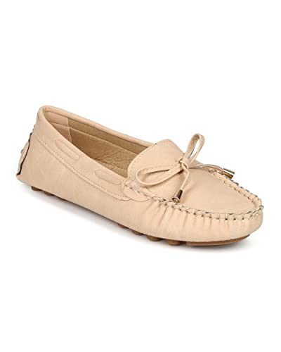 Misbehave Women Leatherette Bow Tassel Slip On Moccasin Flat CF74 - Nude  Leatherette (Size  73c3056aa
