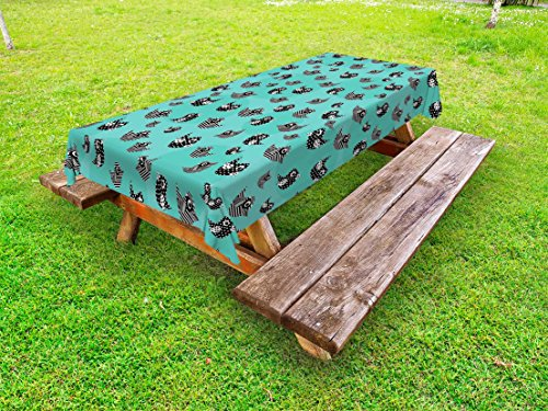 Lunarable Turquoise Outdoor Tablecloth, Pattern Flying Cute Birds Striped Paper Cut DIY Springtime Romantic Art, Decorative Washable Picnic Table Cloth, 58 X 84 inches, Seafoam Black White by Lunarable