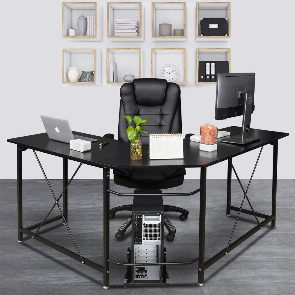 Bonnlo Reversible L Shaped Desk Black Modern Home Office Corner Desk 3-Piece L-Shape Computer Desk with Reversible Tabletop,59.1 Lx51.2 Wx 29.3 H