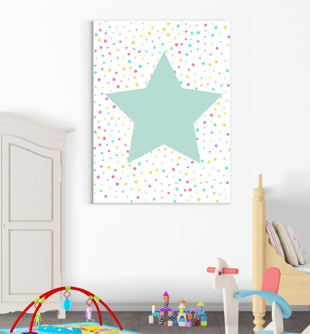 Inspired Walls Big Star Polka Chambre denfant Chambre /à Coucher gar/çons Filles D/écor Mural Art Poster Print