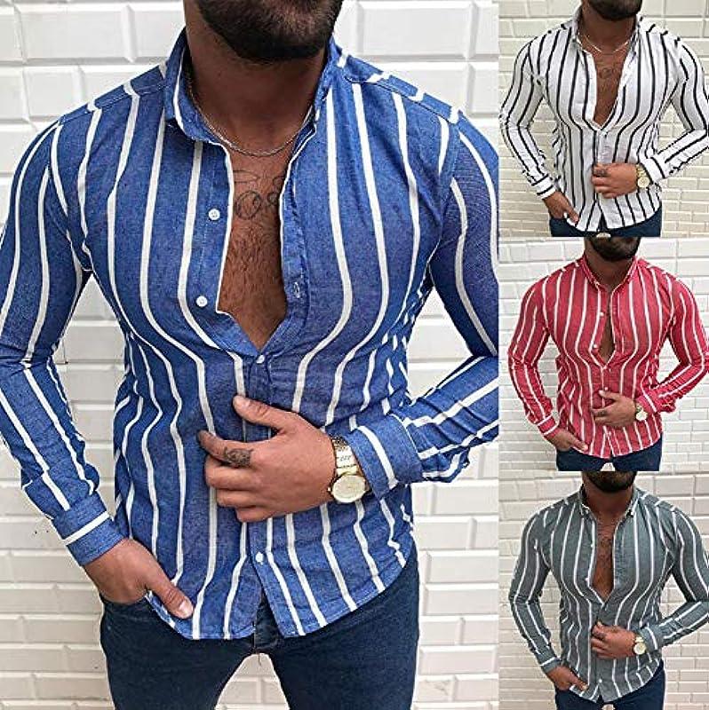 Męskie Herbst New Striped Print Langarm Slim Shirt Baumwolle Cardigan Stand Collar Button: Odzież