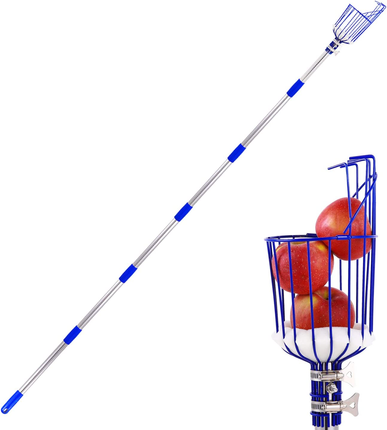 Ohuhu Fruit Picker, 8 ft Height Adjustable Fruit Picker Tool with Big Basket, Light-Weight Stainless Steel Pole to Pick Apple, Orange, Pear, Mango Picker for Garden Patio,8 FT