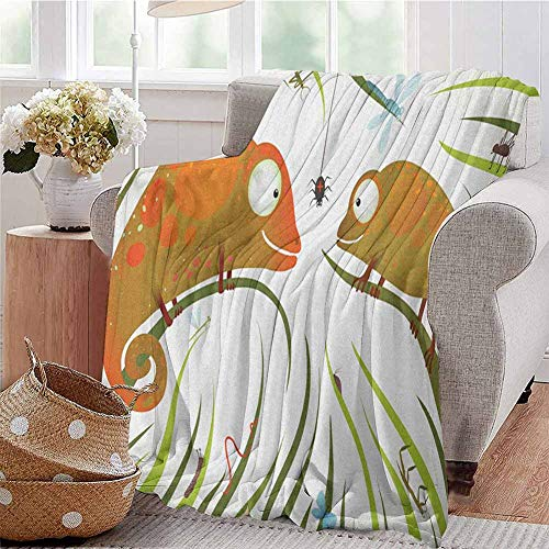 Chameleons Commercial Grade Printed Blanket Hungry Animals Grass Looking at Spider Insect World Illustration Worm Ladybug Queen King W70 x L70 Inch Multicolor