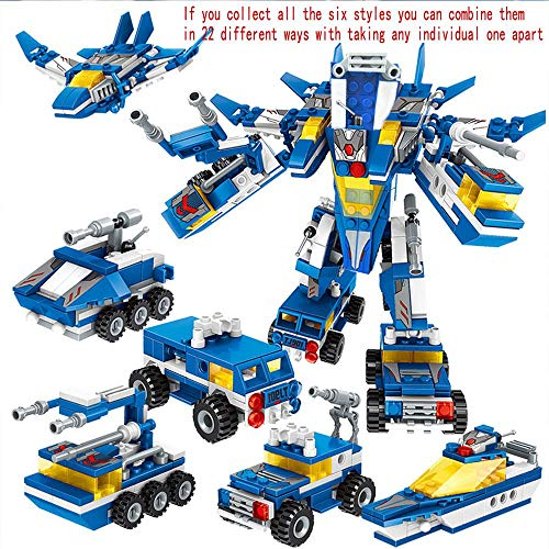 Volwco 6 Pack Building Blocks Toys, Robot STEM Toy Transform Toys Engineering Building Blocks Building Bricks Party Favors, Great Gifts for 5-14 Year Old Boys Girls, Compatible with All Major Brands