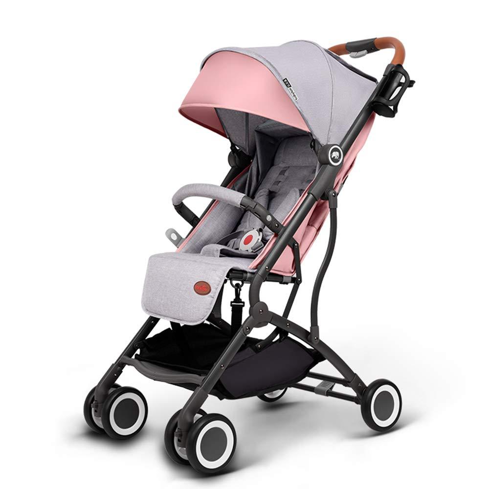 ミニライトベビーカーショッピングカート軽量折りたたみセキュリティシステム記念日子供用ポケット傘  Pink drilled color B07HP26D29