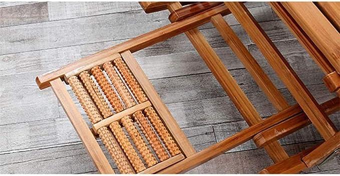 Silla Descanso Tumbona Plegable salón Balcón de bambú Ajustable Mecedora de Madera sólida Barandilla Vieja pie de Masaje, Jardín reclinable portátil xiuyun: Amazon.es: Hogar