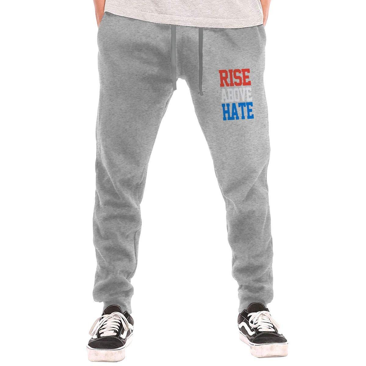Rise Above Hate Drawstring Waist,100/% Cotton,Elastic Waist Cuffed,Jogger Sweatpants Black