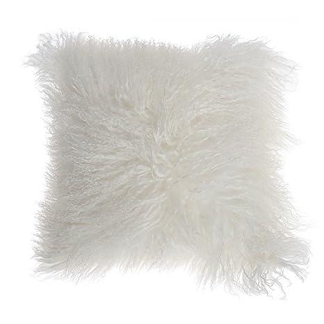 Cojín, diseño de oveja largo pelo natural, 35 x 35 cm-Cojín ...