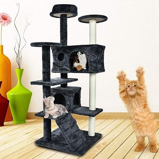 GOTOTOP - Rascador para Gatos, 130 cm, para casa de Gatos, casa de ...